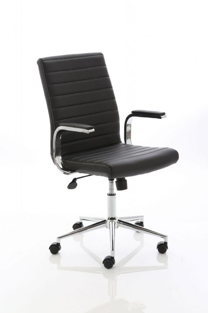 Ezra Ribbed Executive Meeting Chair Medium Back - Stylish Stitching Padded Arms Various Leathers